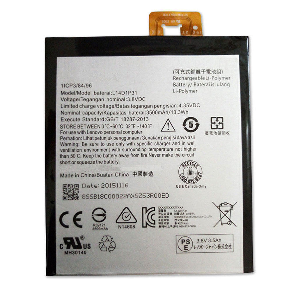 L14D1P31 Baterie do laptopów 3500MAH/13.3Wh 3.8V/4.35V